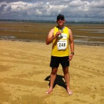 On the beach after Isle of Wight Half Marathon 2013